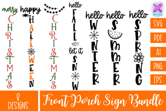 All Seasons Welcome Sign Bundle SVG Graphic Crafts By Rumi Designed