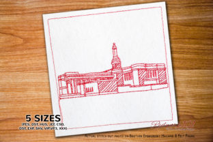 Anchorage Alaska Temple Lineart Design Vacation Embroidery Design By Redwork101