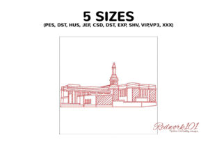 Anchorage Alaska Temple Lineart Design Vacation Embroidery Design By Redwork101 2