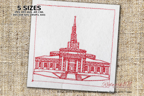 Apia Samoa Temple Bluework South America Embroidery Design By Redwork101