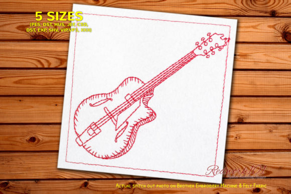 Archtop Guitar Design Music Embroidery Design By Redwork101