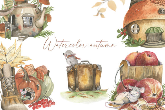 Print on Demand: Autumn Watercolor. Cozy Season Graphic Illustrations By laffresco04