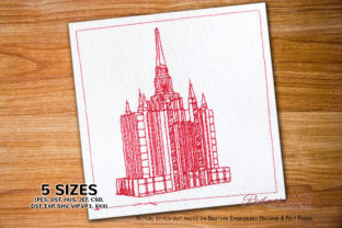 Bangkok Thailand Temple Redwork Vacation Embroidery Design By Redwork101