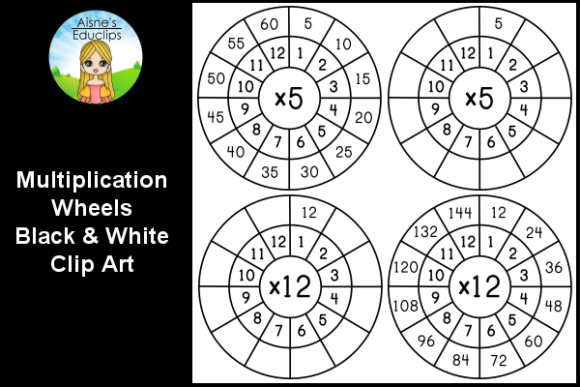 Print on Demand: Black & White Multiplication Math Wheels Graphic Teaching Materials By Aisne Educlips