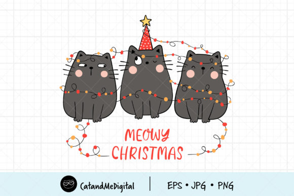 Black Cat Meowy Christmas Graphic Illustrations By CatAndMe