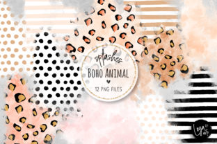 Print on Demand: Boho Animal Watercolor Wash Splashes Graphic Objects By MutchiDesign