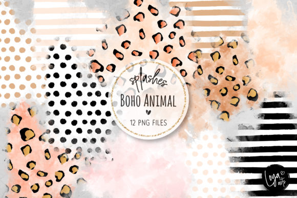 Print on Demand: Boho Animal Watercolor Wash Splashes Graphic Objects By loyaarts