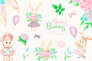Print on Demand: Bunny & Flowers Watercolor Clipart Graphic Illustrations By sunnywillowdesign
