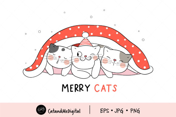 Cat Christmas Clipart Graphic Illustrations By CatAndMe