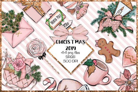 Print on Demand: Christmas Clipart Png Set Graphic Illustrations By TheGGShop