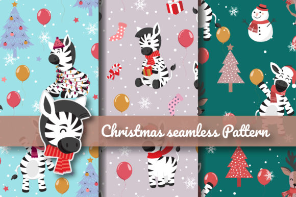 Print on Demand: Christmas Cute Zebra Seamless Pattern Graphic Patterns By jannta