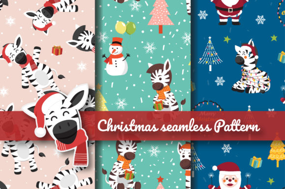 Print on Demand: Christmas Fun Zebra Seamless Pattern Graphic Patterns By jannta