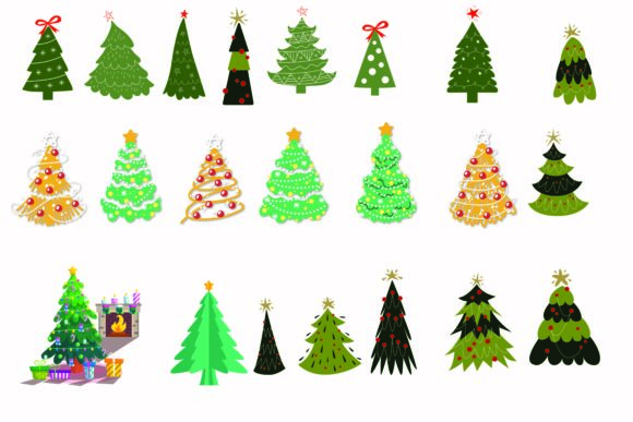 Print on Demand: Christmas Trees Vector Collection Graphic Illustrations By BOdesign