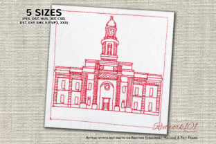 Church in Antofagasta Chile Lineart Vacation Embroidery Design By Redwork101