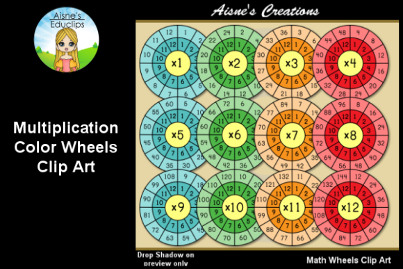 Print on Demand: Color Math Wheels - Multiplication Graphic Teaching Materials By Aisne Educlips