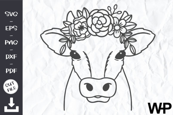 Cow with Flower Crown SVG, Animal Face Graphic Print Templates By wanchana365