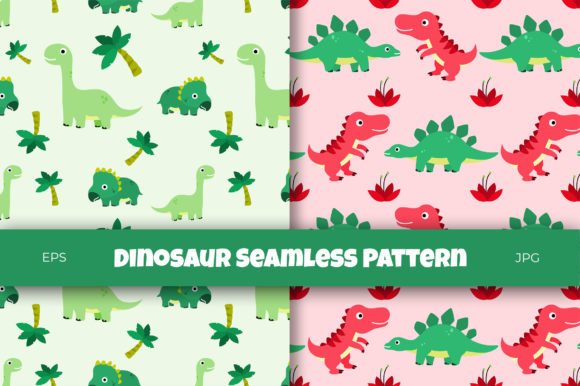 Print on Demand: Cute Dinosaur and Jurassic Theme Pattern Graphic Patterns By Helotype