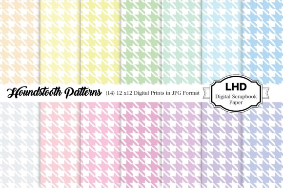 Digital Papers Pastel Houndstooth Graphic Patterns By LeskaHamatyDesign