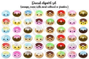 Donut Clipart, Doughnuts Clip Art Set Graphic Illustrations By bestgraphicsonline