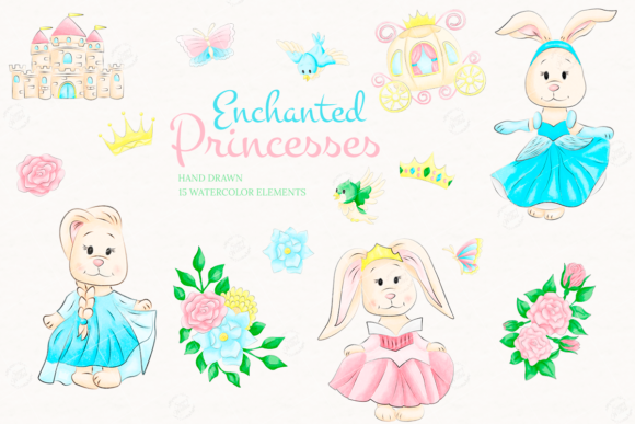 Print on Demand: Enchanted Princesses Watercolor Clipart Graphic Illustrations By sunnywillowdesign
