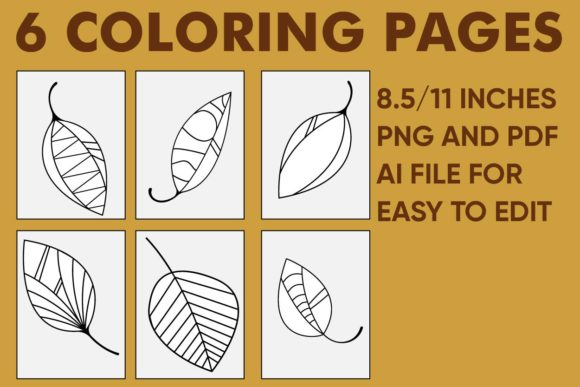 Print on Demand: Fall Coloring Pages - 6 Pages of Leaf Graphic Coloring Pages & Books Kids By Mah Moud