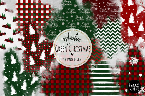 Print on Demand: Green Christmas Watercolor Wash Splashes Graphic Illustrations By loyaarts