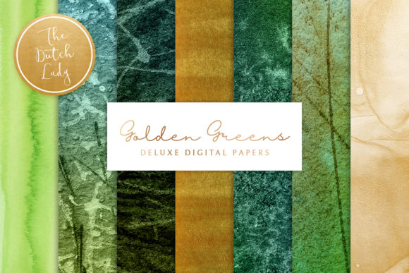 Print on Demand: Green & Golden Paint Textures Graphic Backgrounds By daphnepopuliers