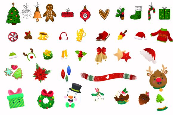Print on Demand: Hand Drawn Christmas Items Vector Graphic Illustrations By BOdesign
