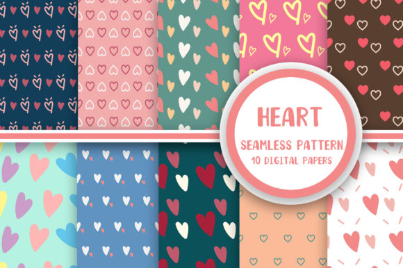 Heart Seamless Pattern Digital Papers Graphic Patterns By PearlyDaisy