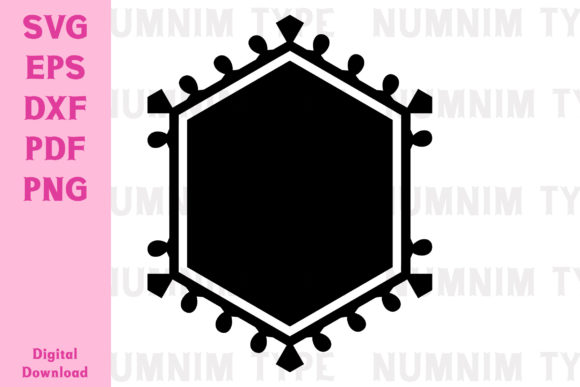 Print on Demand: Hexagon Frame Boho Retro Svg Cut for DIY Graphic Crafts By numnim