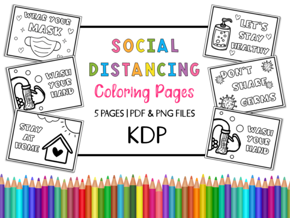 KDP Social Distancing Coloring Pages Graphic Coloring Pages & Books Kids By Miss Cherry Designs