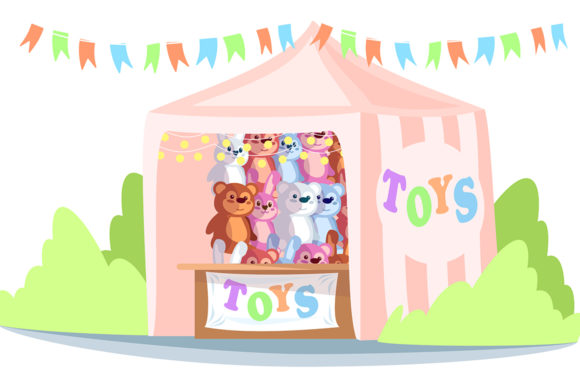 Print on Demand: Kiosk with Toys Semi Flat Illustration Graphic Illustrations By bsd studio