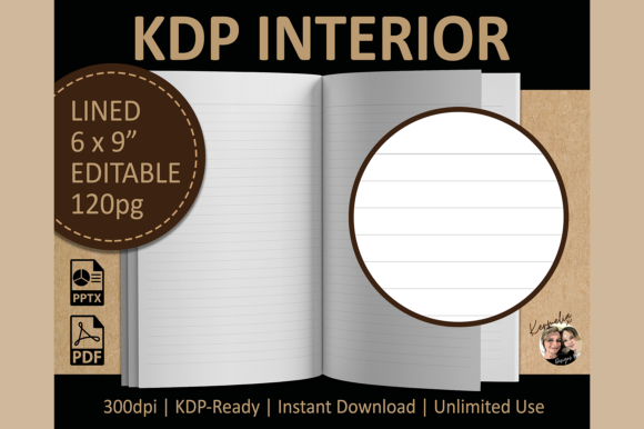 Lined Interior Editable Template Graphic KDP Interiors By KermeliaDesigns