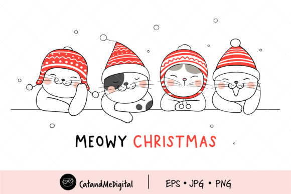 Meowy Christmas Clip Art. Graphic Illustrations By CatAndMe