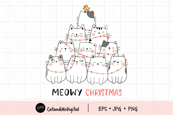 Meowy Christmas Clip Art Graphic Illustrations By CatAndMe