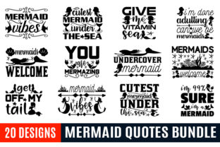 Print on Demand: Mermaid Quotes Designs Bundle Graphic Print Templates By Crafting Time