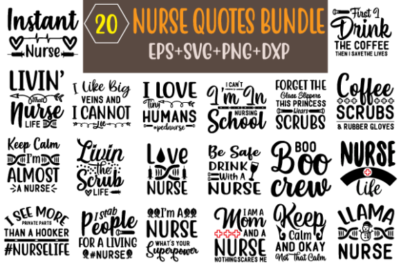 Nurse Quotes Design Bundle Graphic Crafts By creative store.net