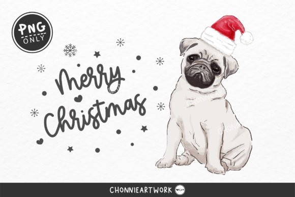 Painted Pug Dog and Christmas Hat Graphic Crafts By Chonnieartwork
