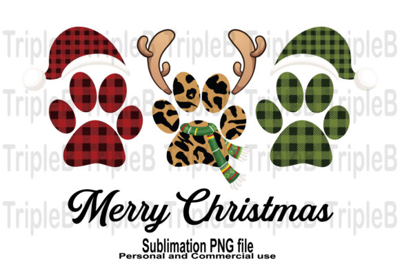 Print on Demand: Paw Merry Christmas Sublimation Designs Graphic Crafts By TripleBcraft