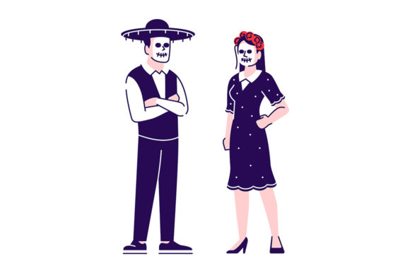 Print on Demand: People Wearing Day of Dead Costumes Graphic Illustrations By bsd studio