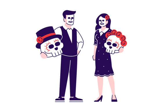 Print on Demand: People Wearing Sugar Scull Face Make Up Graphic Illustrations By bsd studio