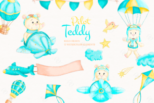 Print on Demand: Pilot Teddy Watercolor Clipart Graphic Illustrations By sunnywillowdesign