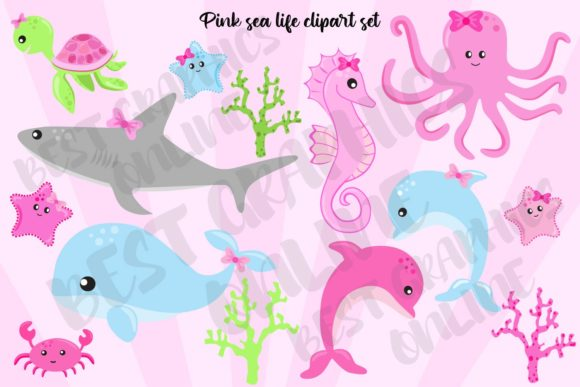 Pink Sea Life Clipart Whale Shark Crab Graphic Illustrations By bestgraphicsonline