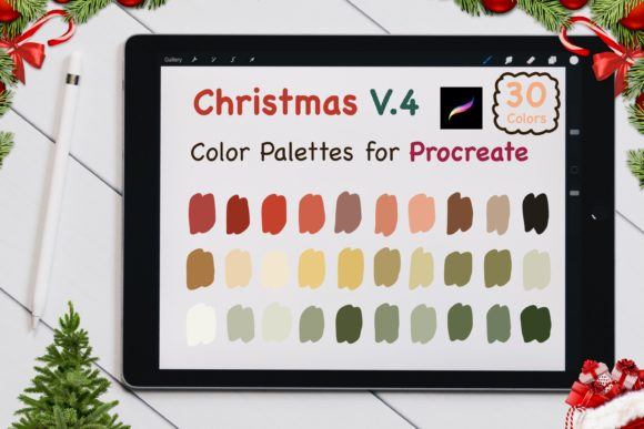 Procreate Color Palettes Set - X'mas V.4 Graphic Add-ons By jennythip