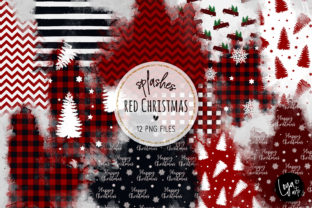 Print on Demand: Red Christmas Watercolor Wash Splashes Graphic Illustrations By loyaarts