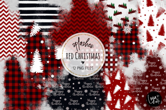 Print on Demand: Red Christmas Watercolor Wash Splashes Gráfico Illustrations Por loyaarts