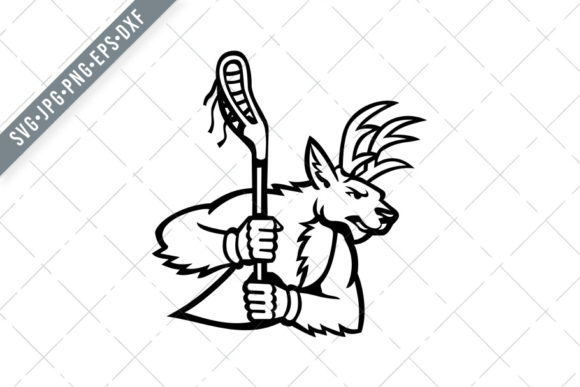 Print on Demand: Red Deer Stag or Buck Lacrosse SVG Graphic Illustrations By patrimonio