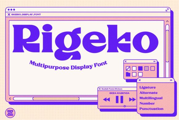 Print on Demand: Rigeko Display Font By zealab fonts division