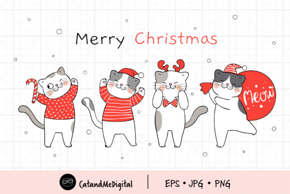 Santa Cat Clip Art. Graphic Illustrations By CatAndMe
