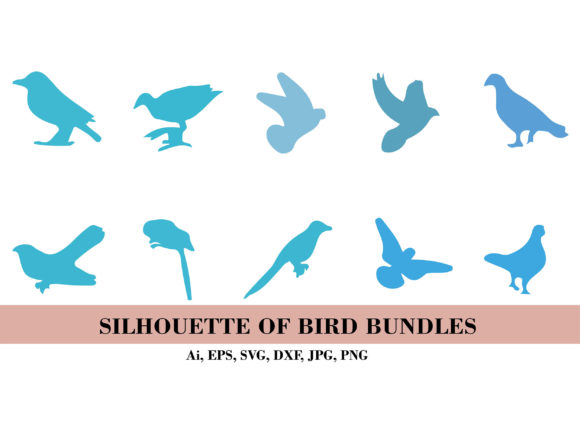 Silhouette Blue Birds Bundles Graphic Illustrations By themagicboxart